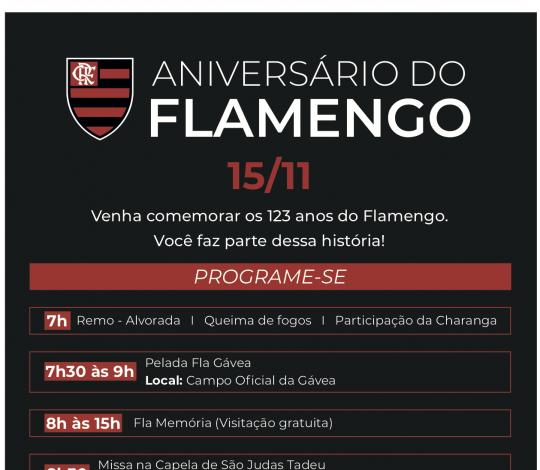 Aniversário do Flamengo - Programação