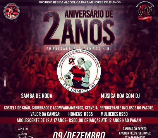 Fla Campos-RJ convida Rubro-Negros para festa de 2 anos