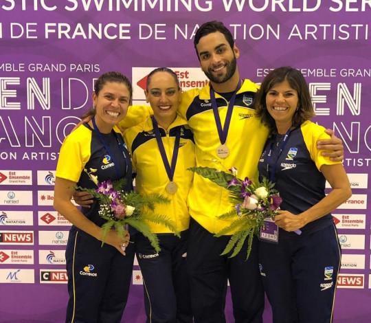 Renan Alcântara analisa desempenho do Dueto Misto brasileiro no French Open de nado artístico
