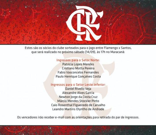 Confira os sócios que ganharam ingressos para a partida contra o Santos