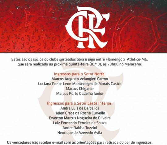 Confira os sócios que ganharam ingressos para a partida contra o Atlético-MG