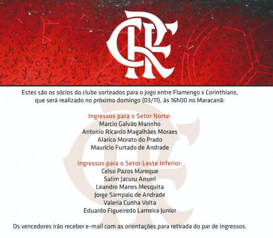 Confira os sócios que ganharam ingressos para a partida contra o Corinthians