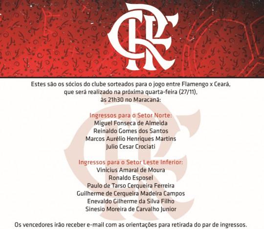 Confira os sócios que ganharam ingressos para a partida contra o Ceará