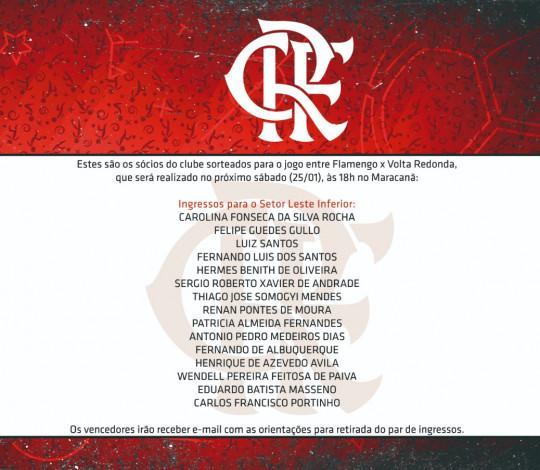 Confira os sócios que ganharam ingressos para o jogo contra o Volta Redonda