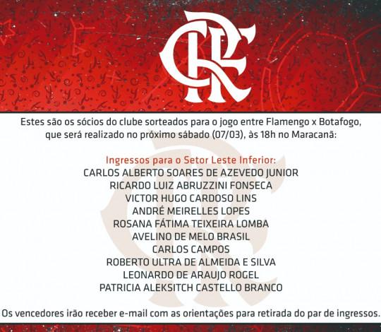 Confira os sócios que ganharam ingressos para a partida contra o Botafogo