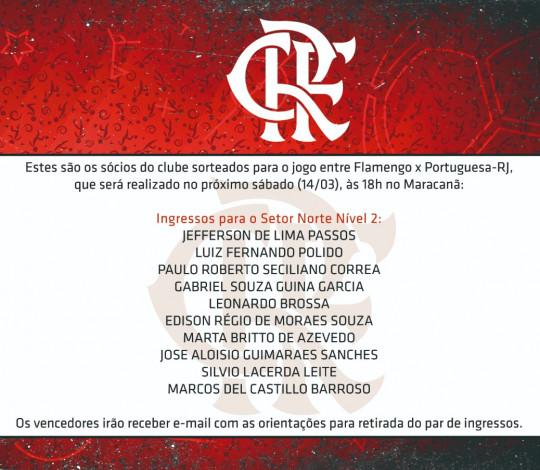 Confira os sócios que ganharam ingressos para a partida contra a Portuguesa (RJ)