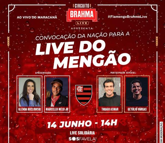 Live do Mengão terá Mumuzinho, Xande de Pilares, ídolos da Nação e doações para o SOS Favela