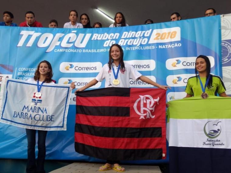 Ingra Pedroso conquista medalha de ouro no Campeonato Brasileiro Infantil Interclubes de Natação.