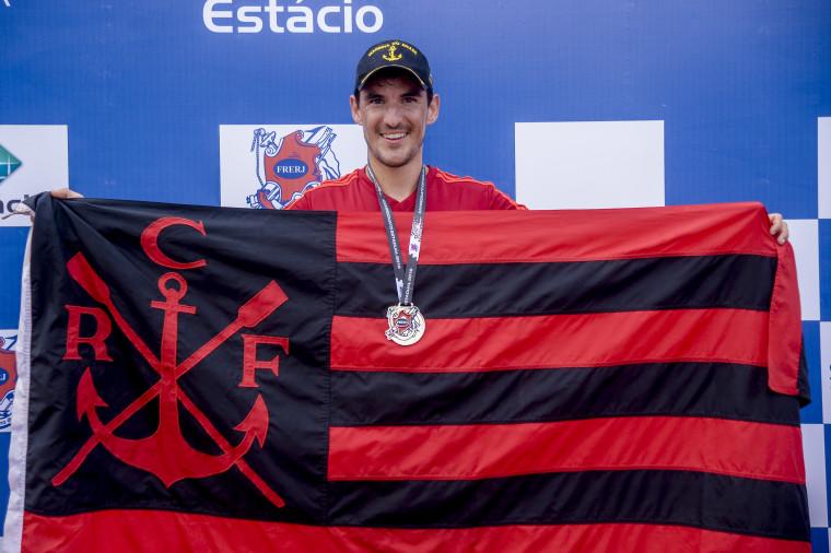 Evaldo Morais garante o ouro na prova do Single Skiff Peso-leve. Foto: Marcelo Cortes / Flamengo